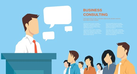 Ilustración de Business presentation giving a speech concept leadership in business - Imagen libre de derechos