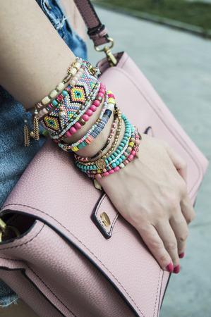 Photo for Stylish bracelets on female hand - Royalty Free Image