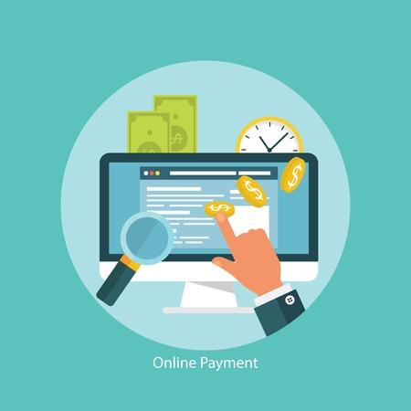 Ilustración de Concept for web banners and promotions. Flat design concept for online transactions - Imagen libre de derechos