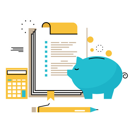 Ilustración de Financial consulting, finance guidance, business advisor, investment assistance, bookkeeping flat line vector illustration design for mobile and web graphics - Imagen libre de derechos