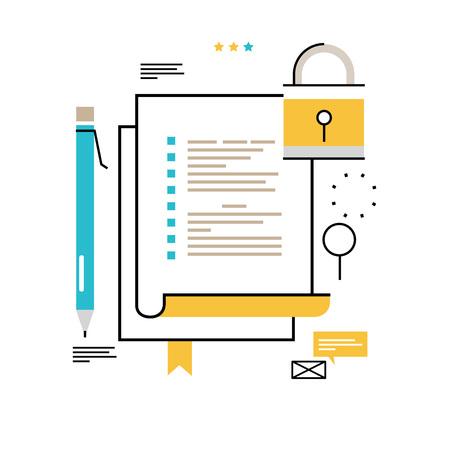 Illustration pour Digital data security flat line vector illustration design for mobile and web graphics. - image libre de droit