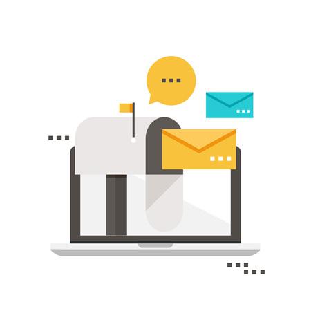 Illustration for Email marketing, inbox message, email news, subscription, promotion flat vector illustration design - Royalty Free Image