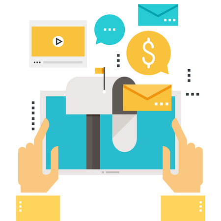 Illustration for Email marketing, inbox message, email news, subscription, promotion, video message flat vector illustration design - Royalty Free Image