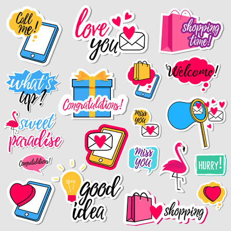 Illustration pour Collection of flat design social network stickers. Set of stickers, pins, patches and badges vector illustration. Stickers for mobile messages, chat, social media, online communication, networking - image libre de droit