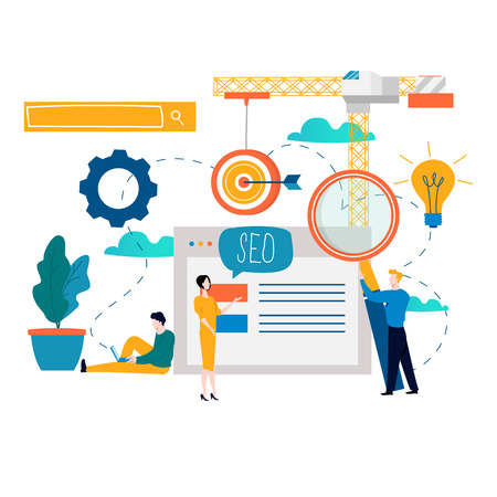 Photo for SEO, search engine optimization, keyword research, market research flat vector illustration. SEO concept. Web site coding, internet search optimization design for mobile and web graphics - Royalty Free Image
