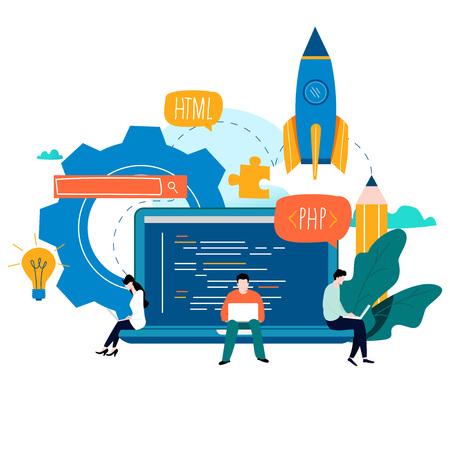 Illustration pour Coding, programming, application development, flat vector illustration design - image libre de droit