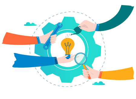 Ilustración de Business development, project and research, testing and improvement design for mobile and web graphics flat vector illustration - Imagen libre de derechos