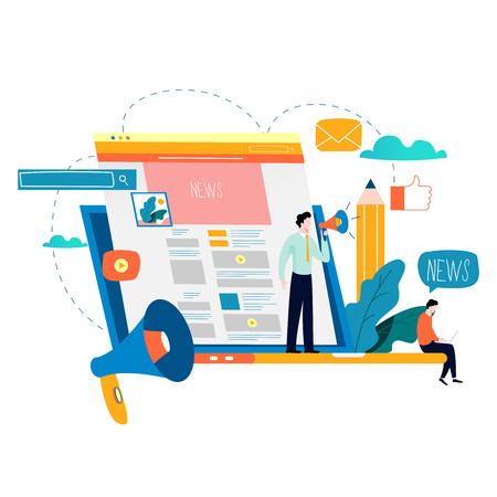 Ilustración de News update, online news, newspaper, news website flat vector illustration. News  webpage, information about events, activities, company information and announcements - Imagen libre de derechos