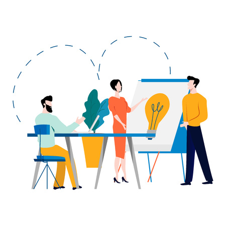 Ilustración de Professional training, education, online tutorial, online business course, business presentation flat vector illustration. Expertise, skill development design for mobile and web graphics - Imagen libre de derechos