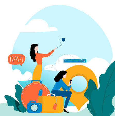 Ilustración de Travel, vacation, people travelling, summer holiday, passengers with baggage flat vector illustration design for mobile and web graphics - Imagen libre de derechos