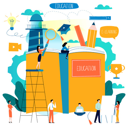 Illustration pour Education, online training courses, distance education flat vector illustration. - image libre de droit