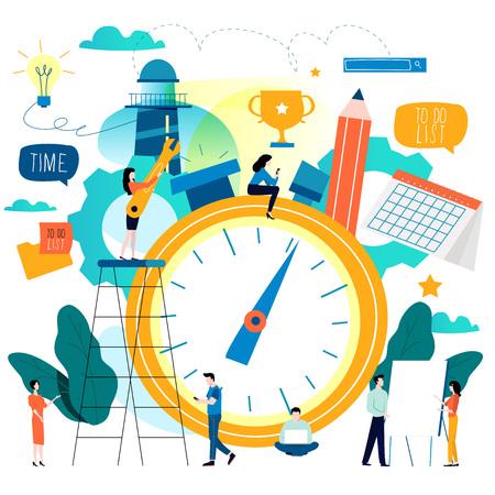 Illustration pour Time management, planning events, organization, optimization, deadline, schedule flat vector illustration design for mobile and web graphics - image libre de droit
