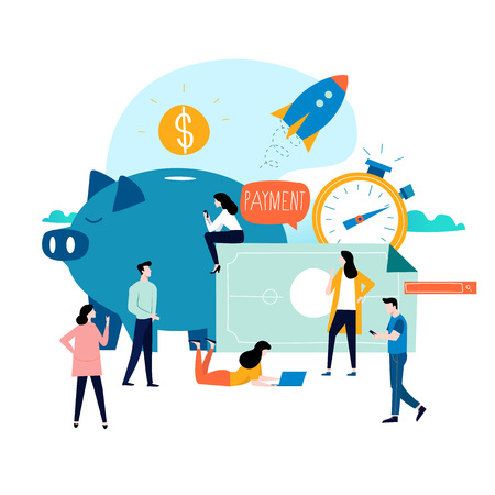 Illustration pour Business and finance services, money loan, budget planning flat vector illustration design. Long term investment, savings account deposit, pension fund design for mobile and web graphics - image libre de droit