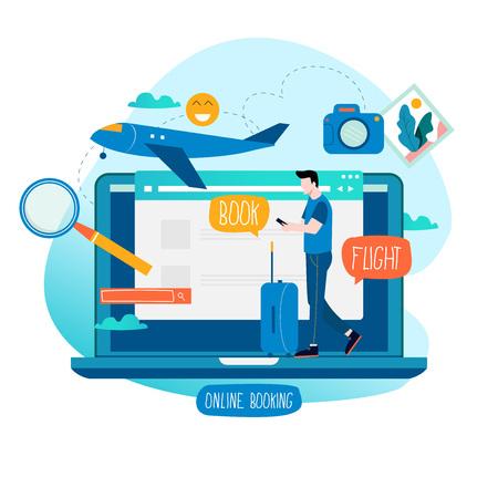 Ilustración de Ticket booking, book flight, buying tickets online flat vector illustration design. Travel concept for mobile and web graphics - Imagen libre de derechos