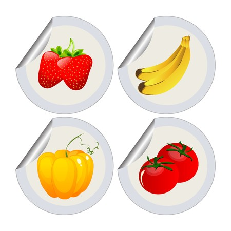 Fruits and vegetables stickers over white background