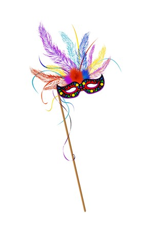 Illustration pour Mardi Grass mask with colored feathes - image libre de droit
