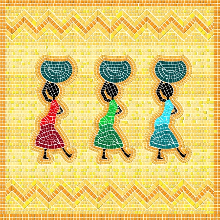Illustration for Mosaic of an african scene with women carrying food basket - Royalty Free Image