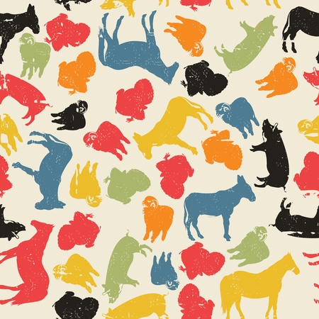A grunge farm animals seamless pattern, abstract art
