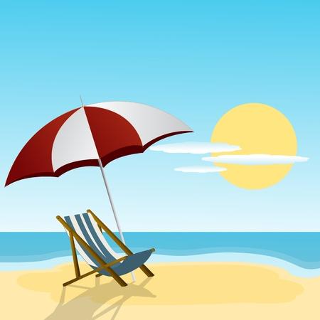 Illustration pour Chaise lounge and umbrella on the beach side  - image libre de droit