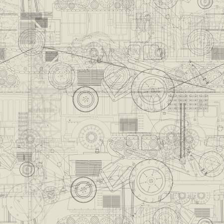 Illustration pour Seamless pattern design with industrial vehicles  - image libre de droit