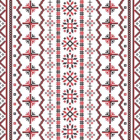 Illustration pour Romanian Embroideries seamless pattern design against white background - image libre de droit