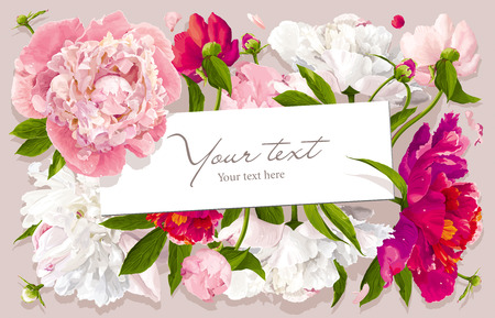 Ilustración de Luxurious pink, red and white peony flower and leaves greeting card with a paper label - Imagen libre de derechos