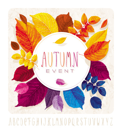 Illustration pour Autumn leaves card for events and sales with round label on grunge background - image libre de droit