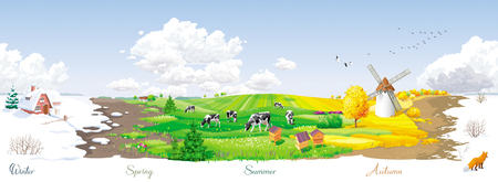 Illustration pour All the year round - ecological concept - seamless landscape with four seasons (winter, spring, summer, autumn) of the year at a rural panorama with fields, cows, windmill and apiary. For packs, posters, banners and Calendars. - image libre de droit