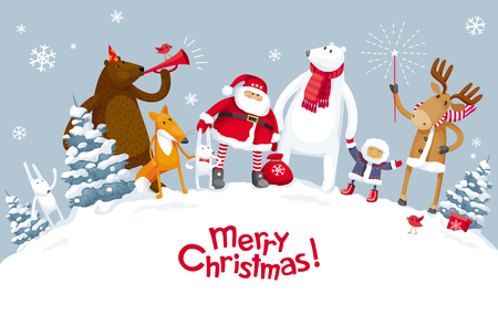 Illustrazione per Christmas Party in the winter forest with the participation of Santa Claus and funny cartoon forest animals: elk, deer, fox, hares, bear and polar bear. For posters, banners, sales and other winter events. - Immagini Royalty Free