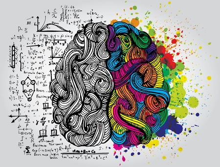 Illustrazione per Bright sketchy doodles about brain with colored elements - Immagini Royalty Free