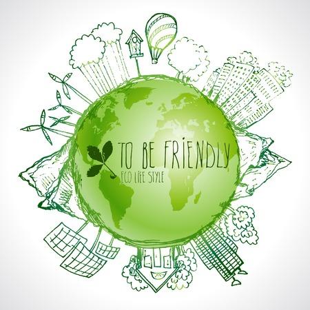 Ilustración de Green Eco Earth, Ecology concept, - Imagen libre de derechos