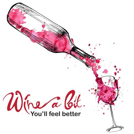 Illustration pour Wine illustration - sketch and art style - image libre de droit