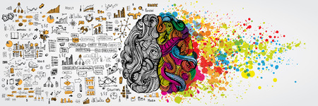 Ilustración de Left and right human brain with social infographic on logical side. Creative half and logic half of human mind. Vector illustration aboud social communication and business work - Imagen libre de derechos