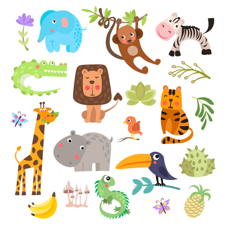 Illustration for Cute set of safari animals and flowers. Savanna and safari funny cartoon animals. Jungle animals vector set. Crocodile, giraffe, lion and monkey, and other jungles and savannah animals in one cute collection, isolated on white background - Royalty Free Image