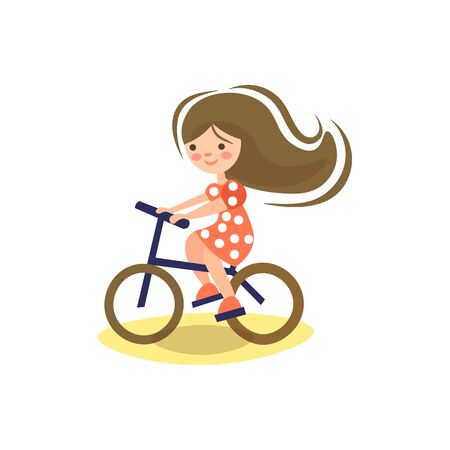 Illustrazione per Cute cartoon illustration of little pre teeen girl, riding a bicycle. Child riding bike. Kid on bicycle, Little girl enjoying bike ride on her way to school. Sport for kids - Immagini Royalty Free