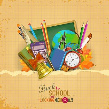 Illustration pour Vector Collection of colorful School Supplies in vintage style. - image libre de droit