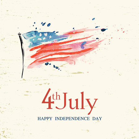Illustration pour 4th of july American independence day greeting card with flag - image libre de droit