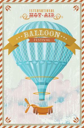 Illustration pour Vintage hot air balloon in the sky illustration - image libre de droit