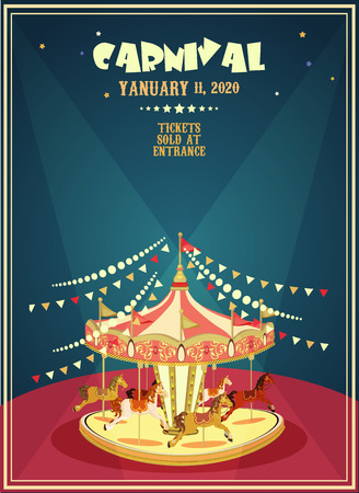 Illustration pour Carnival poster with merry-go-round in vintage style. Carousel with horses. - image libre de droit