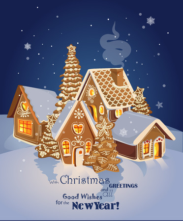 Illustration pour Christmas greeting card with Winter village of ginger cookies. Happy new year - image libre de droit