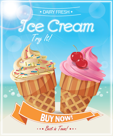 Illustration for Ice Cream Poster. Vector Illustration. - Royalty Free Image