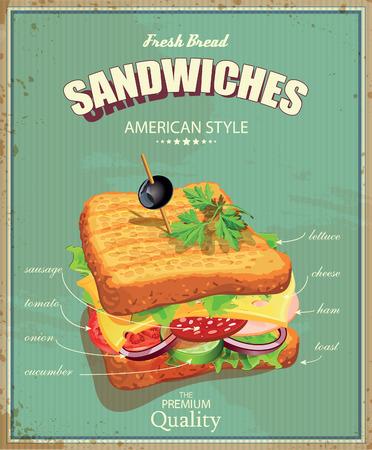 Illustration pour Sandwiches. Vector illustration. American style. Vintage. Ingredients label. - image libre de droit