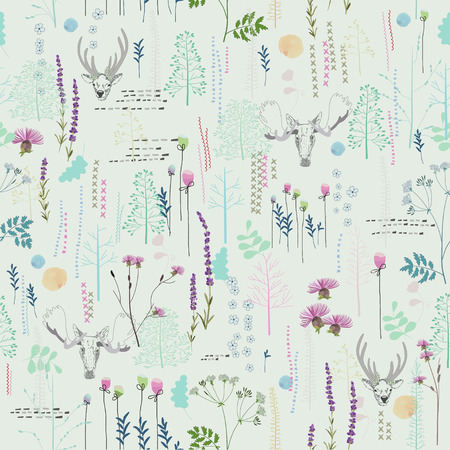 Ilustración de Seamless pattern with trees, shrubs, foliage, deer, elk, animals on light background in vintage style. Background for fabric, scrapbooking, greeting cards, gifts in hipster style. Hand drawing. - Imagen libre de derechos