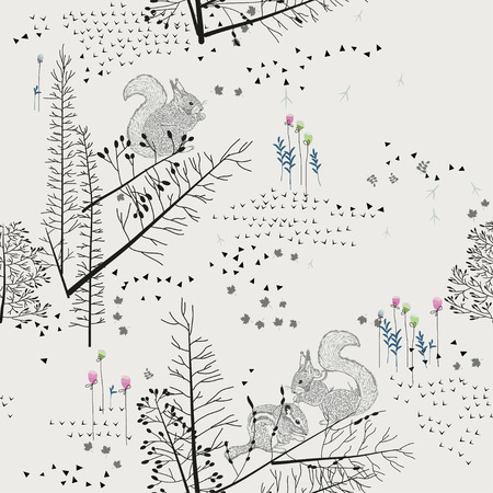 Illustration pour Seamless pattern with squirrel, chipmunk, badger, trees, shrubs, foliage, animals on light background. Background for fabric, scrapbooking, greeting cards, gifts in hipster style. Hand drawing. - image libre de droit