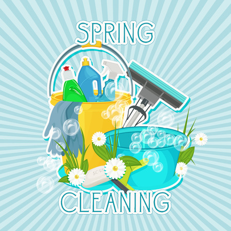 Illustration pour Poster design for cleaning service and cleaning supplies. Spring cleaning kit icons - image libre de droit
