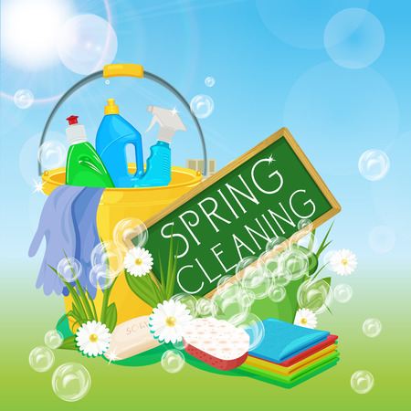 Illustration for Poster design for cleaning service and cleaning supplies. Spring cleaning kit icons - Royalty Free Image
