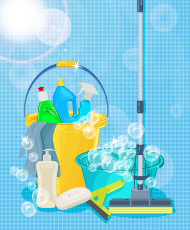 Illustration pour Poster design for cleaning service and cleaning supplies. Cleaning kit icons - image libre de droit