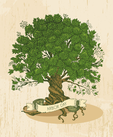 Illustration pour Tree with roots on rough background. Arbor day poster in vintage style. - image libre de droit