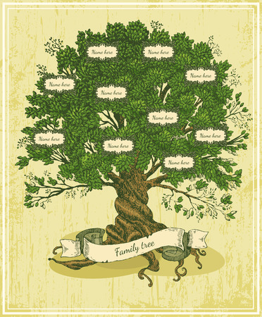 Illustration pour Genealogical tree on old paper background. Family tree in vintage style. Pedigree - image libre de droit