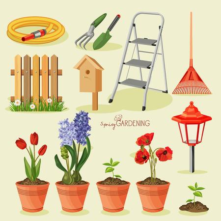 Illustration pour Spring gardening. Garden icon set - image libre de droit
